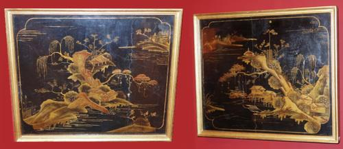 Pair of Black Laquer Panels