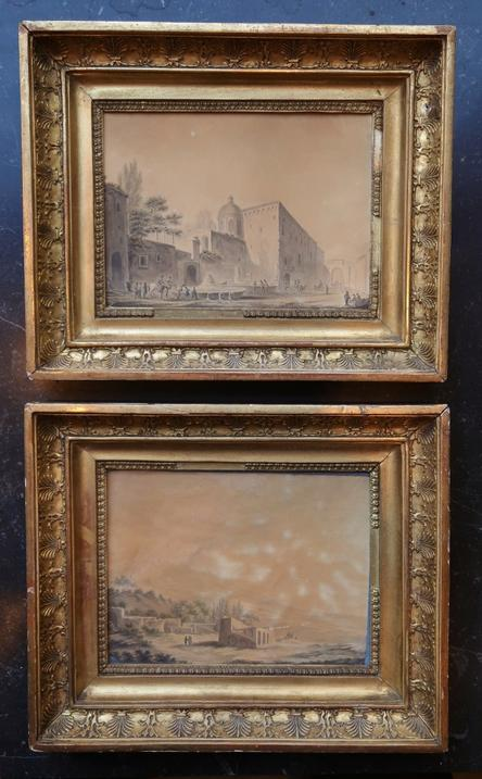 Pair of Italian Landscapes Drawings